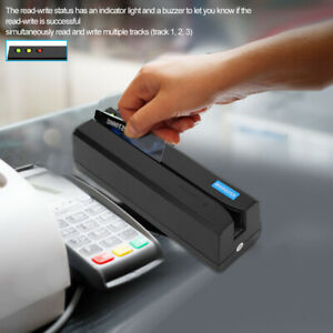 Msr605x Magnetic Stripe Credit Card Reader Magstripe Writer Led 3 tracks Black