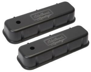 Edelbrock 41803 Valve Cover Victor Tall Breather Hole Logo Blk For Bbc 2x