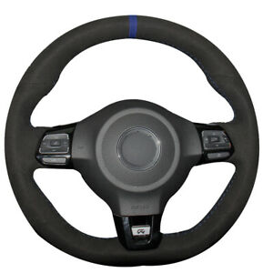 Black Suede Blue Stitch Auto Steering Wheel Hand stitch Wrap Fit For Vw Scirocco