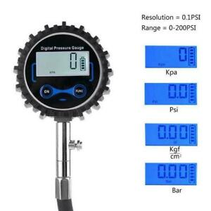 Digital Tire Air Inflator Pressure Gauge 200 Psi Car Bike To Motorcycle Rv T1i9
