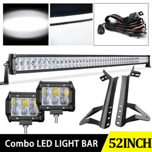 52inch 1080w Led Work Light Bar Combo 2x 4 Pods Wire For 07 18 Jeep Wrangler