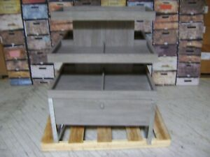 Grey 3 Tier Display W Drawer Merchandise Table