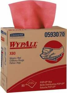 Wypall X80 Dry Shop Towel industrial Wipes Pop up 16 3 4 X 9 Sheet Size Red