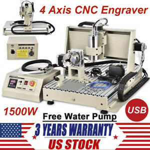 6040t 4 Axis 1500w Router Desktop Engraver Engraving Drilling Milling Machine