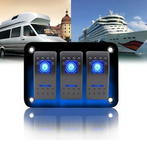 3 Gang Blue Led Light Switch Panel Car Marine Boat Waterproof Circuit Breaker
