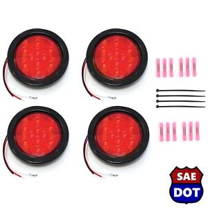 Deluxe Kit 4 Red 4 Round 10 Led Stop Turn Tail Light Flush Mount Truck Trailer