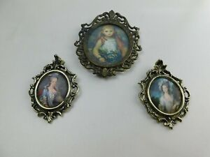 Lot 3 Of Mini Miniature Vintage Picture Frames Brass Plated Pot Metal