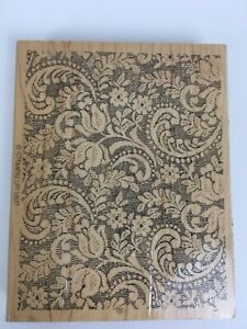 Wood Rubber Stamp Printing Textile Fabric Scrapbooking Lace Print Vintage