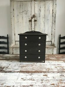 Early Aafa Antique Folk Art Original Black Apothecary Cabinet From Old Crates