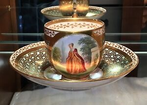 Sir James Duke And Nephews Courting Scene Porcelain Cup Saucer C 1863 England