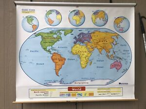 Nystrom World Pulldown Classroom Map 1els99