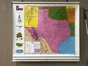 Nystrom United States World Texas Pulldown Classroom Map 1ns99142