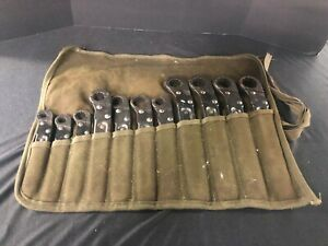 Military Stride Usa Tube Fitting 12 Pt 11 Pc Sae Wrench Set