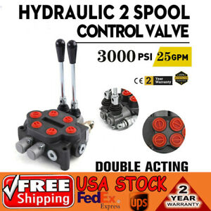 Hydraulic Directional Control Valve Tractor Loader W Joystick 2spool 25gpm Usa