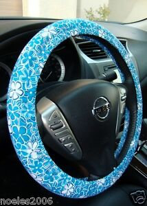 Hand Made Steering Wheel Covers Retro Style Blue And White Flowers