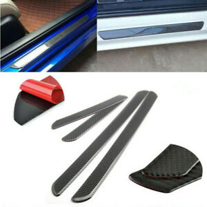 4x New Carbon Fiber Car Scuff Plate Door Sill Panel Step Protector Guard Cover