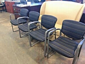 Lot Of 8 Guest side lobby Chair By Haworth Improv Blue gray black Checkered Fabr