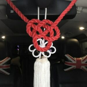 2pcs Jp New Model Red Kintsuna Rope White Kiku Knot Car Rearview Mirror Charms