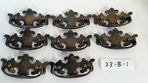 Lot Of 8 Chippendale Style Vintage Drawer Pulls W Antique Finish