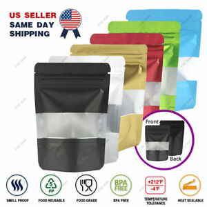 Multi size Color Foil Mylar Matte Stand Up Zip Lock Bag W Rectangle Window