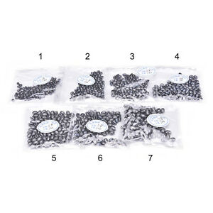 100pcs Fishing Egg Bullet Rig Sinkers Angling Lead Weight Split Shot Oval NMHWC