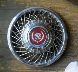 1987 Cadillac Coupe Deville Wire Spoke 14 Hubcaps Set Of 4 With Center Caps