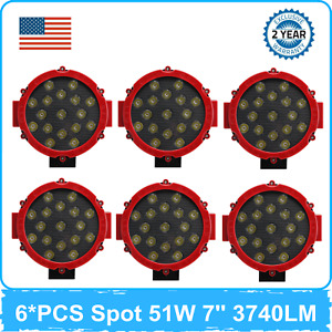 6x 7 51w Led Work Light Spot Driving Fog Vehicle Ranger Utility Atv Red yellow