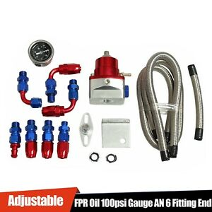 Universal Adjustable Fuel Pressure Regulator Kit 100psi Guage An 6 Fitting Red