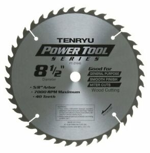 Tenryu Pt 21640 8 1 2 Carbide Tipped Saw Blade 40 Tooth Atb Grind 5 8 Arbo