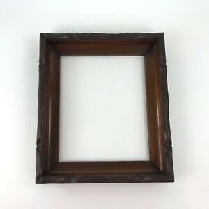 Vintage Solid Wood Picture Frame Deep Shadow Box Brown Carved Details No Glass