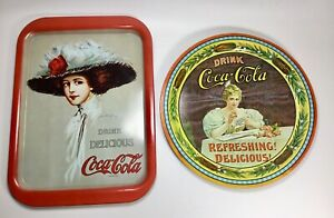 "2-Coca-Cola Trays Vintage 1970""s Round 75th Anniversary & Rectangle"