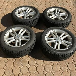 4 Oem Mercedes Wheels With 205 55 16 Firestone Winterforce Studded Snow Tires