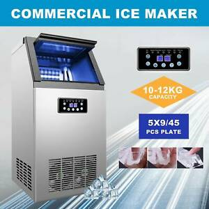 Commercial Ice Maker Automatic Stainless Steel 110lbs 24h Freestanding Portable
