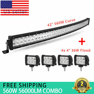 Curved Dual Row 42inch 540w Led Light Bar 4 Pods Off Road Truck Driving Lamp