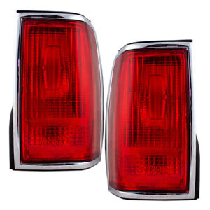 Tail Lights Fit 1990 1997 Lincoln Town Car Chrome Trim Set F5vy13405a F5vy13404a