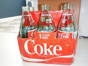 Coca Cola - Collector 1 Liter 33.8 oz Vintage Glass Bottle With case 1970s