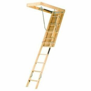 Louisville Ladder 22 5 by 54 inch Wooden Attic Ladder Fits 8 foot 9 inch To 10ft
