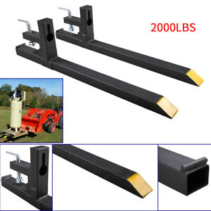 43 2000lbs Capacity Clamp On Pallet Forks Loader Bucket Skidsteer Tractor Chain