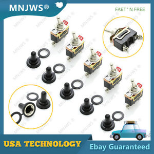 5x Spst 2 Pin 15a 250v On off Rocker Toggle Switch For Boat Racecar Rv Truck Car