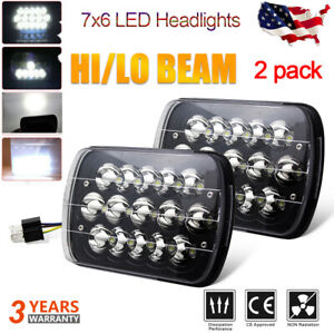 2pcs Universal 5x7 7x6 Black Led Headlight Driving Lamp High Low Beam Assembly