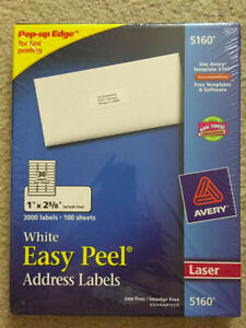 Avery 5160 Avery Easy Peel Address Labels Permanent Adhesive 3000 Labels