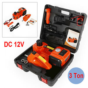 Electric 3 ton Car Hydraulic Floor Jack Tire Inflator Pump With Impact Wrench Us