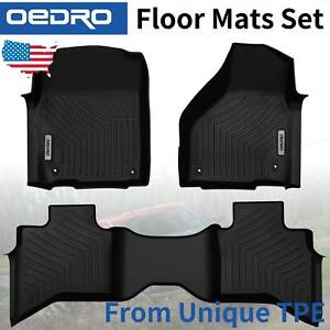 All weather Black Tpe Floor Mats Liners F r For 13 21 Dodge Ram 1500 Quad Cab