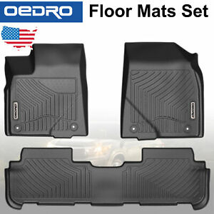 All Weather Black Unique Tpe Floor Mats Liners Fit For 14 19 Toyota Highlander