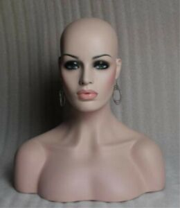 Unique Female Fiberglass Mannequin Head Bust For Wig Jewelry hat Display 18