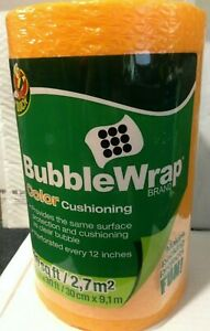 Duck Brand Orange 30 Length X 12 Wide Color Cushioning Bubble Wrap Perforated
