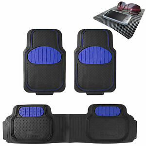 Floor Mats 3pc Full Set For Auto Car Sedan Suv Van Blue Black W Free Dash Mat
