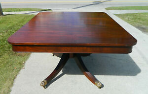 Vintage Duncan Phyfe Style Pedestal Dining Table W 2 Leaves Extends 95 Inches