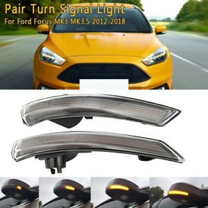 2x Led Rear View Mirror turn Signal Light Mirror Indicator For Ford Focus 12 18