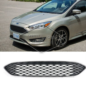 Front Upper Grille Grill For Ford Focus 2018 2017 2016 2015 Honeycomb Mesh Paint